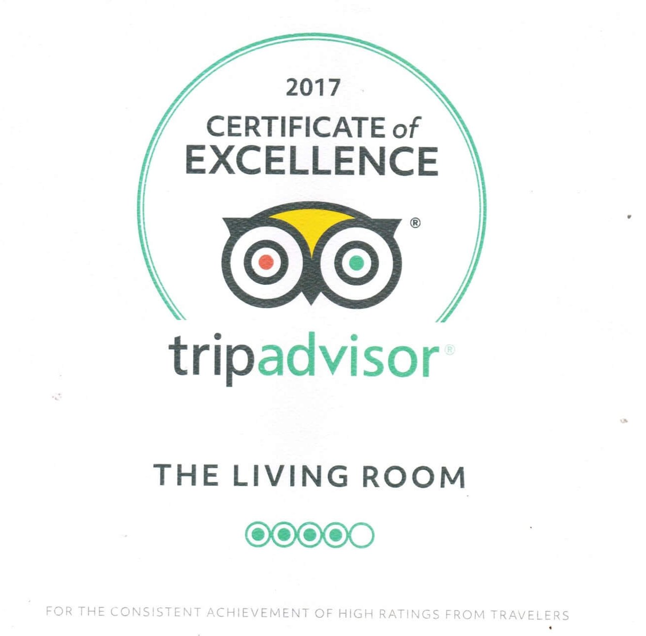 the living room recently won a tripadvisor award for consistent high ratings from customers and travelers in boston - The Living Room Boston